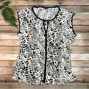 Vince Camuto XL Blouse Animal Print Gathered Top